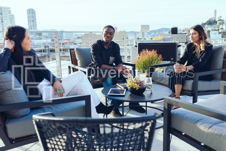 Diverse group on rooftop