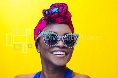 millennial black woman with yellow background