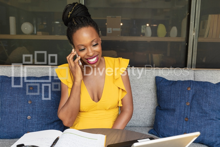 black woman working in common space