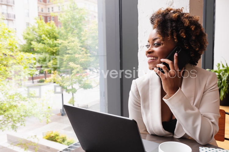 Black woman having a business call