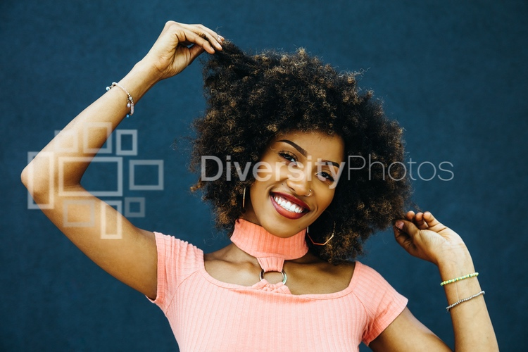 Portrait of black woman with natural hair