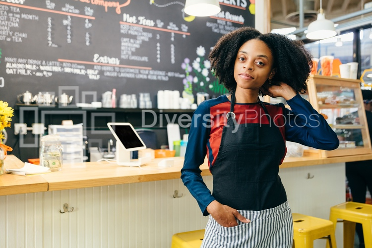 Coffee Shop Barista with Natural Hair