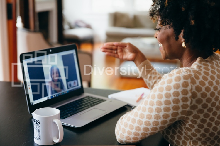 Young professional woman working from home