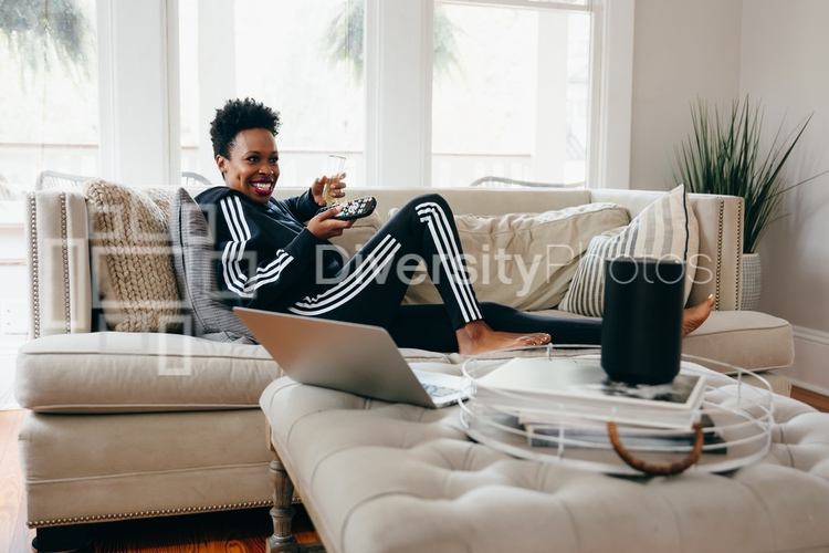 Young woman takes a break from working