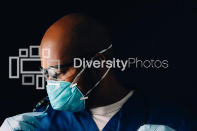 African American doctor with mask during covid-19 pandemic