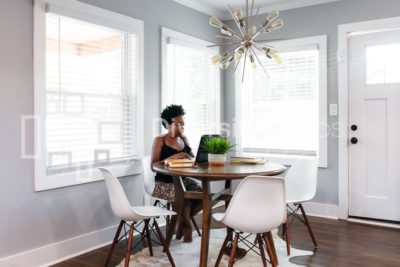 Woman working remotely from home